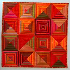 """Optical Squares II"" by Amy at happythings, design by Kaffe Fassett, seen at Sew,Mama,Sew (Orange and bronze) Quilting Projects, Quilting Designs, Striped Quilt, Striped Fabrics, Orange Quilt, Quilt Modernen, Log Cabin Quilts, Contemporary Quilts, Traditional Quilts"