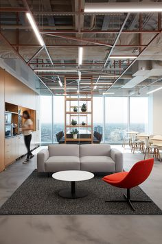 Office Tour: Camping World Offices – Chicago – Office lounge Staff Lounge, Office Lounge, Office Den, Small Office, Office Interior Design, Office Interiors, Modern Interior, World Office, Salas Lounge