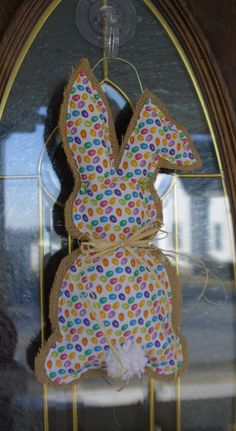 Jelly Bean Bunny Door Hanger, Burlap Easter Door Hanger, Easter Decor, Easter Bunny, Spring Decor