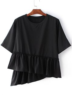 Buy Black Round Neck Ruffle Hem Short Sleeve Blouse from abaday.com, FREE shipping Worldwide - Fashion Clothing, Latest Street Fashion At Abaday.com