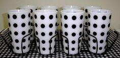 Vintage black dot McKee tumbler set, via the Farm Girl Pink blog, November 28, 2012.