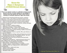 Signs and Symptoms of Sexual Abuse in Children