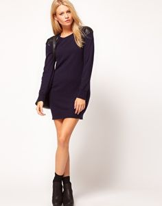 Enlarge ASOS Jumper Dress With Leather Look Quilted Patches