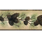 Rustic Pine Cone Wallpaper Border Multi Earth