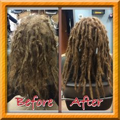 Before & After maintenance on 6 months old dreadlocks. He's still locking up so stay tuned for his progression in the locking process. I did some major separating of his dreads at the base, finger rolled, crocheted and palm rolled to help aid in this process. #dreads #dreadlockmaintenance #caucasiandreadlocks