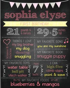 Chalkboard First Birthday Poster with Banner  by WiggleWords, $8.00