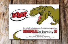 ROARR Dinosaur Birthday Invitation  You by PicklePotamusPress, $10.00
