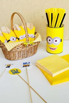 Despicable Me Minions baby girl shower party! See more party planning ideas at CatchMyParty.com!