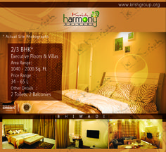 "Krish Group Villas in bhiwadi are well structured & maintains in the Dock of Nature which makes this different from others. The Construction is on his sharp mode. Krish Harmony Project in bhiwadi is a Pollution immune environment based luxuries apartments and villas.Krish Harmony 2bhk apartment in bhiwadi A place to live when life meets harmony with ""2000 Sqfeet (185.81Sqmeter)65 Lacs.There's the environment if free from deafening whispering & the monotonous days."