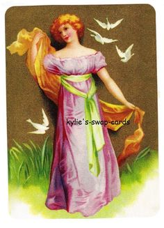 Y6 LOVELY LADY swap playing cards MINT COND flowing gown and doves by swap-cards-and-more - $1.00