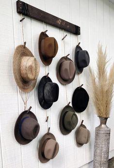 Wall Hat Racks, Diy Hat Rack, Hat Hanger, Hanging Hats, Hat Storage, Hat Organization, Hat Display, Hat Decoration, Upholstery Tacks