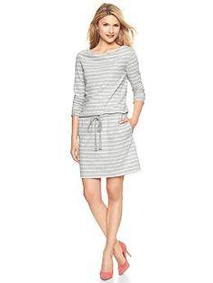 Striped cowlneck dress