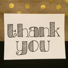 Hand Lettered Thank You Card 3x4 Inches on by LettersAndLattes, $4.00