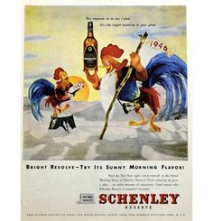 """1947 Schenley Reserve Blended Whiskey Father Time & New Year Roosters """"Sunny Morning Flavor"""" Vintage Advertisement Print Ad Bar Wall Decor"""