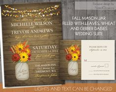 Fall Wedding Invitations | Rustic Mason Jar Wedding Invitations- Fall Leaves and gerber Daisies with lights | wood grain- Digital File