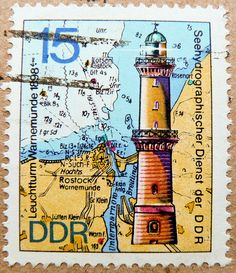 DDR 15 pf Warnemünde (lighthouse, Leuchtturm, маяк, farol, faro, latarnia morska, deniz feneri, 1898, Seehydrographischer Dienst der DDR) GDR Deutsche Demokratische Republik deniz feneri pullari маяк марки 德意志民主共和国 selo farol faro bollo 15