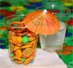 Cute VBS snack for nursery - with Goldfish & maybe veggie chips (sticks)?