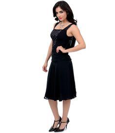 Unique Vintage 1920s Style Black La Plante Flapper Dress