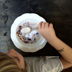 Homemade, crunchy granola with almond milk...omnomnom!