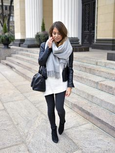 Fall style - oversized grey scarf, leather moto jacket, skinny black jeans/leggings and black booties