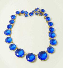 Vintage Art Deco Blue Crystal Open Back Necklace - Vintage Lane Jewelry - 1
