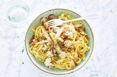 Tagliatelle met champignons en witlof - Recept - Allerhande