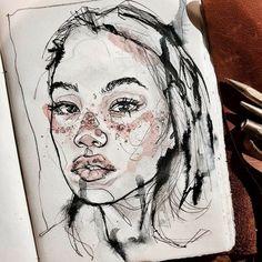 E e sketchbook inspiration, art sketchbook, portrait watercolour, watercolo Watercolor Portraits, Watercolor Art, Watercolour Drawings, Drawing Portraits, Portrait Sketches, Art Black Love, Art Sketches, Art Drawings, Arte Punk
