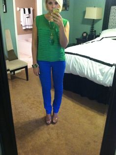 This is one of my go to outfits... I love color!  Shirt - Saks Fifth Ave, Jeans from JC Penney, Bracelet from Atlanta Airport Vendor, Shoes are from Dillards and Necklace from TJ Maxx in Baltimore.