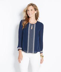 Shop Shirts: Silk Polka Dot Embroidered Top for Women | Vineyard Vines
