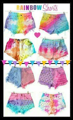 Tween girls fashion tye dye studded rainbow shorts