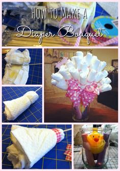 How to make a Diaper Bouquet: The most adorable baby shower or baby reveal gift which doubles as decor and is useful. I love baby diaper cakes too, but this diaper bouquet has to be my fave! Baby Shower Crafts, Baby Shower Parties, Shower Gifts, Baby Party, Baby Shower Bouquet, Diaper Bouquet, Diaper Cakes Tutorial, Diy Diaper Cake, Diy Diapers