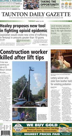 The front page of the Taunton Daily Gazette for Tuesday, Aug. 18, 2015.
