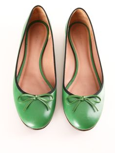 Celine ballet flats // great form, awesome fresh colour green