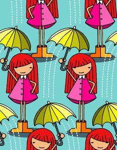 Kinder Stoff Regenschirm Regen Mädchen Girl von fummelhummel auf stoffn.de Sandra Thissen bunt retro Wetter Wind Herbst Sommer grün blau türkis lila pink rosa rot beige orange gelb weiß Illustration