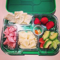 Simple, healthy lunches for little people - @Carla Gentry Langley @yumboxaustralia my son's first time eating out of a #yumbox not very creative, but he loves it!