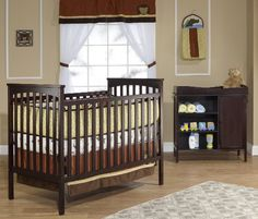 Simple crib with changing table. Crib converts to a day bed. Adjustable mattress heights, standard size crib mattress. Changer has #galley rail and changing pad ...