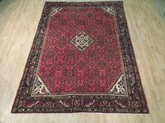Red Malayer Traditional 7' x 10' Persian Rug Hand Woven Herati Rugs for Bedrooms