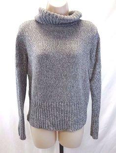 Daisy Fuentes Gray Sweater Women's Medium Heavy Knit White and Grey #DaisyFuentes #TurtleneckMock