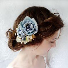 blue flower bridesmaid or flower girl hair accessory