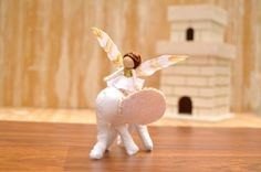 Felt Fairy and Elephant  felt fairy doll felt by FifteenMagpieLane