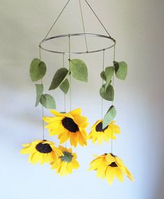 Sunflowers Felt Baby Mobile, Floral Nursery Decor, Baby Girl Crib Mobile Source by etsy Baby Girl Nursery Decor, Floral Nursery, Nursery Themes, Nursery Room, Baby Room, Baby Decor, Bedroom, Sunflower Nursery, Sunflower Room