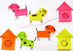 hondjes vouwen, leuke knutsel bij het boek Dag meneer, hebt u een hond? van Marjet Huiberts
