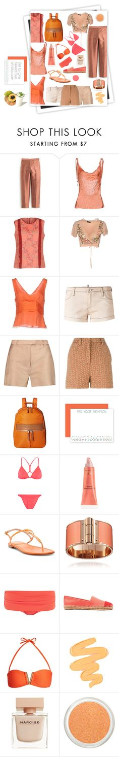 """""""Papaya"""" by onenakedewe ❤ liked on Polyvore featuring GALA, J.Crew, Richmond X, Caractère, VDP, Armani Jeans, 3.1 Phillip Lim, Rochas, Knomo and Melissa Odabash"""