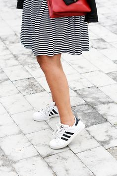 Stripes all over Adidas Superstar Outfit, Hot Heels, Adidas Fashion, Drop Waist, Dress Red, Fashion Outfits, Womens Fashion, Adidas Shoes, Striped Dress