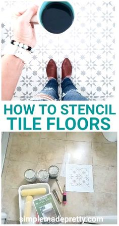 How To Stencil Tile Floors – Stencil Floors DIY, Stencil Floors Farmhouse – diy bathroom ideas Stenciled Tile Floor, Painted Bathroom Floors, Painting Bathroom Tiles, Tile Floor Diy, Painting Tile Floors, Bathroom Floor Tiles, Painted Floors, Bathroom Stencil, Floor Stencil