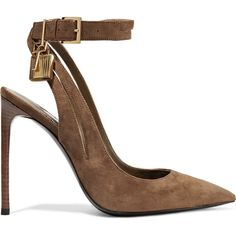 Tom Ford Suede pumps ($1,030) ❤ liked on Polyvore featuring shoes, pumps, heels, tom ford, chaussures, brown, brown suede pumps, spiked heel pumps, tom ford pumps and ankle strap pumps