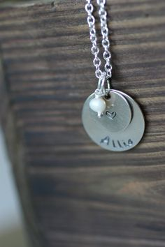 Children's Name Stacked Heart Silver by DistinctlyIvy