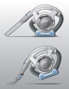 Dustbuster Flexi - Portable vacuum cleaner industrial design product rendering by Graeme Crawley, via Behance