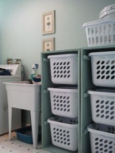 Baskets for each family member or sort by color and leave the baskets in the child's bathroom or bedroom for dirty clothes.
