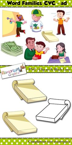 """CVC short vowel clip art set containing 7 images from the """"ad"""" family"""